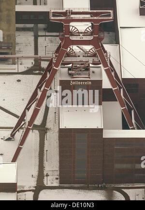 Aerial view, Doppelbock winding tower, Zeche Zollverein Coal Mine Industrial Complex, UNESCO World Cultural Heritage - Stock Photo
