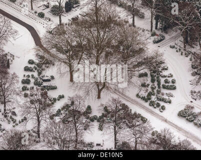Aerial view, Garden Cemetery, cremation graves under the trees in winter - Stock Photo