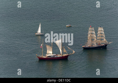 Aerial view, sailboats during the Hanse Sail Rostock - Stock Photo