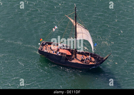 Aerial view, sailboat during the Hanse Sail Rostock - Stock Photo
