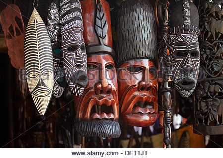 African masks, Zambia, Africa - Stock Photo