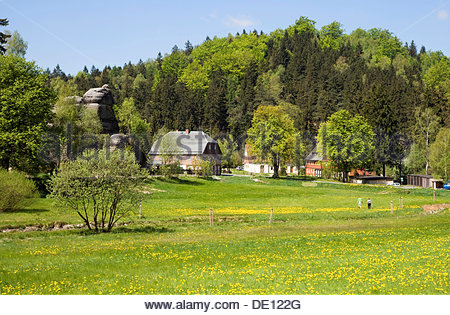Village in a mountain landscape with rocks, Jonsdorf, Zittau Mountains, Saxony - Stock Photo