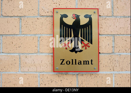 Sign 'Zollamt', German for 'customs office', border crossing between Germany and Switzerland, Europe - Stock Photo
