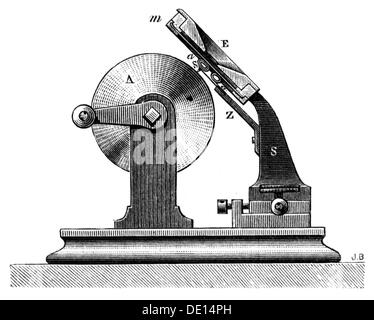 technics historic, audio engineering, phonograph of Thomas Alva Edison, 1877, Additional-Rights-Clearences-NA - Stock Photo