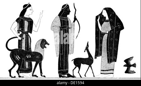 fashion, ancient world, Greece, archaic men's and women's clothing, wood engraving by A.Rey, out of: Hugo Blümner, - Stock Photo