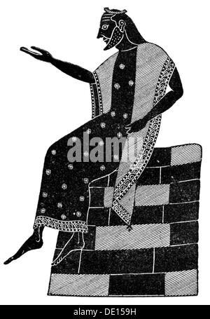 fashion, ancient world, Greece, archaic men's clothing, wood engraving, out of: Hugo Blümner, 'Leben und Sitten - Stock Photo