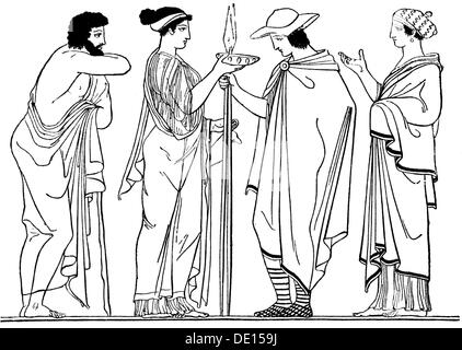 ancient world, Greece, goodbye of an ephebos, after vase painting, wood engraving, 19th century, 19th century, graphic, - Stock Photo