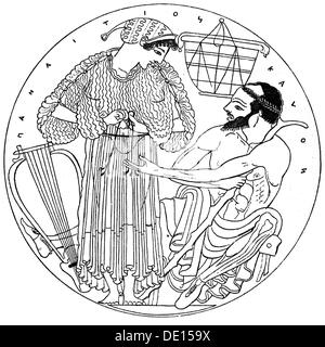 fashion, ancient world, Greece, men's and women's clothing, 5th century BC, wood engraving, out of: Hugo Blümner, - Stock Photo