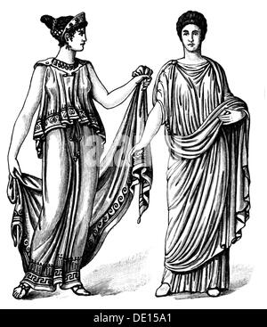fashion, ancient world, Greek women's clothing, circa 450 BC, Roman women's clothing, circa 1st century AD, wood - Stock Photo