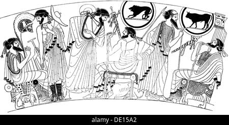 fashion, ancient world, Greece, men's clothing, after vase painting by Brygos, 5th century BC, wood engraving, 19th - Stock Photo