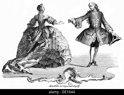 dance, courtly dance, copper engraving by Johannes Esaias Nilson, Augsburg, circa 1770, Artist's Copyright has not - Stock Photo