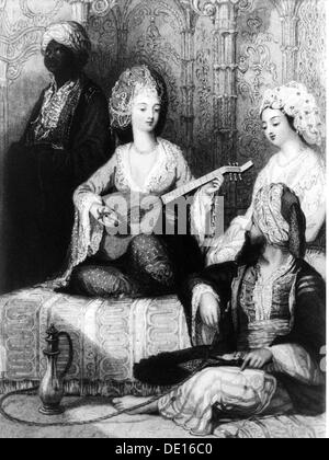 music, musician, mandolin playing lady of the harem, lithograph, early 19th century, serail, seraglio, lady of the - Stock Photo