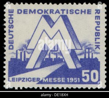 mail, postage stamps, Germany, Deutsche Post of the German Democratic Republic, 50 pfennig postage stamp, design - Stock Photo