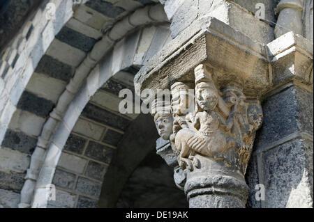 Capital, cloister of cathedral Notre Dame, Le Puy en Velay, departure of Saint Jacques de Compostelle way, Haute - Stock Photo