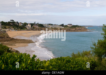 Beach View from Pt Moulinet, Dinard, Brittany, France - Stock Photo