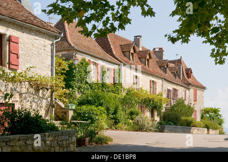 Hilltop Town of Loubressac, Lot, Midi-Pyrenees, France - Stock Photo