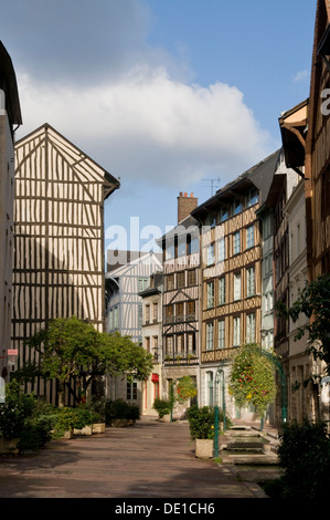Half-timbered Houses, Rouen, Normandy, France - Stock Photo