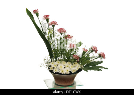 Bouquet of flowers on clear white background - Stock Photo