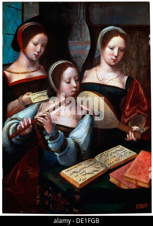 'Musicians', 1530s-1540s. Artist: Unknown Old Master - Stock Photo