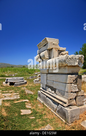 The altar of goddess Hera at the archaeological site of Heraion, Samos island, Greece - Stock Photo