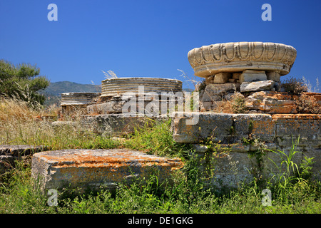 The temple of Hera ('Heraion'), at the archaeological site of Heraion, Samos island, Greece - Stock Photo