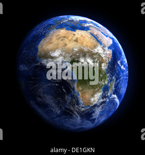 The Earth from space showing Africa. Isolated on black. Other orientations available. - Stock Photo
