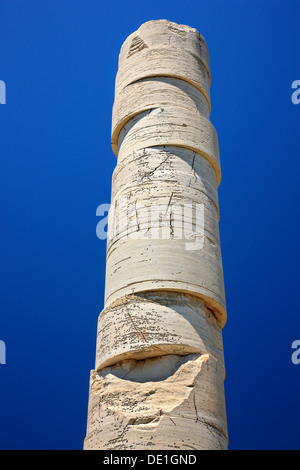The last column standing at the temple of Hera ('Heraion'), at the archaeological site of Heraion, Samos island, - Stock Photo