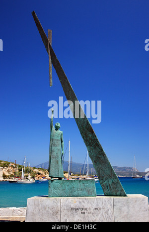 The statue of Pythagoras, famous ancient Greek philosopher and mathematician, in Pythagoreion town, Samos island, - Stock Photo