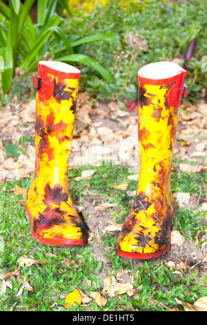 Colorful pair of galoshes in garden setting - Stock Photo