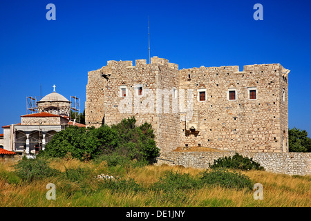 Logothetis tower, Pythagoreion town, Samos island, Aegean sea, Greece. - Stock Photo