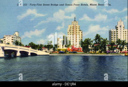 41st Street Bridge and ocean front hotels, Miami Beach, Florida, USA, 1946. Artist: Unknown - Stock Photo