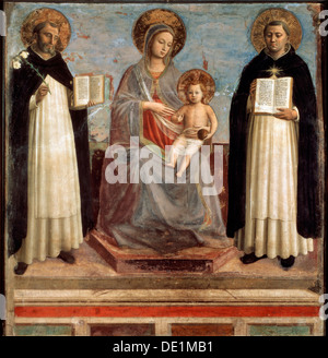 'Virgin and Child with Saints Dominicus and Thomas Aquinas', 1424-1430. Artist: Fra Angelico - Stock Photo