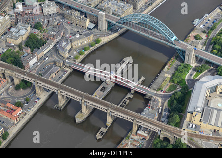 Aerial photograph of the Tyne Bridges - Stock Photo