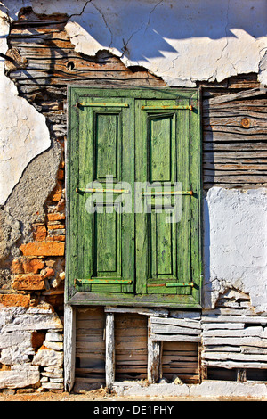 Old house in Ano Vathi town, Samos island, Greece. - Stock Photo
