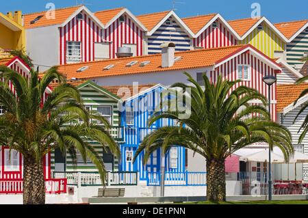 ´Palheiros´ typical colorful houses, Costa Nova, Aveiro. Beira Litoral, Portugal - Stock Photo
