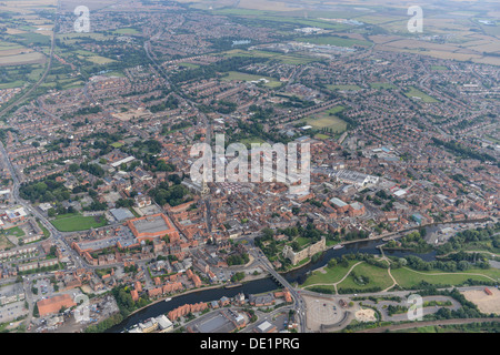 Aerial photograph of Newark-on-Trent town centre - Stock Photo