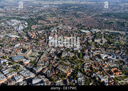Aerial photograph of Norwich city centre - Stock Photo
