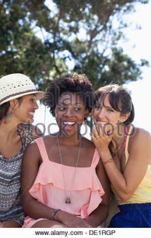 Smiling women talking outdoors - Stock Photo