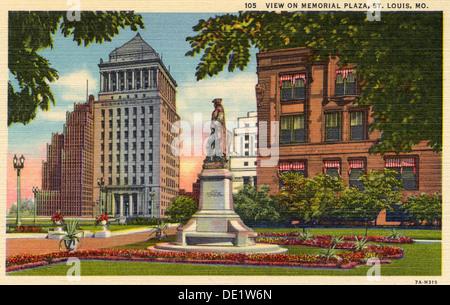 View on Memorial Plaza, St Louis, Missouri, USA, 1937. Artist: Unknown - Stock Photo