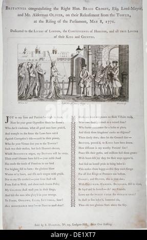 Britannia congratulating the Lord Mayor of London, 1771. Artist: Bland - Stock Photo