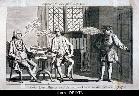 The Lord Mayor [Brass Crosby] and Alderman Oliver, imprisoned in the Tower of London, 1771. Artist: Anon - Stock Photo