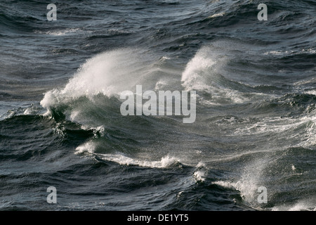 Waves with spray, on the high seas, Baltic Sea, Germany - Stock Photo
