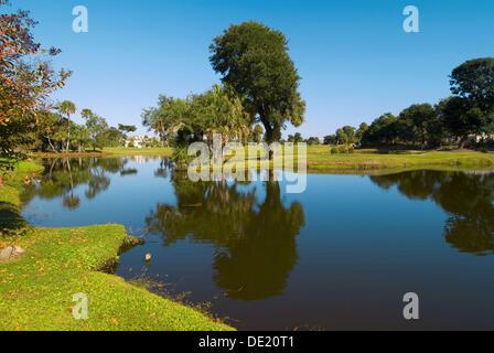 The Nineth Hole of the Links Golf Course, Wild Dunes Island Resort, Isle of Palms, near Charleston, South Carolina - Stock Photo