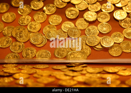 Golden byzantine coins at the archaeological museum of Pythagorion, Samos island, Aegean Sea, Greece. - Stock Photo