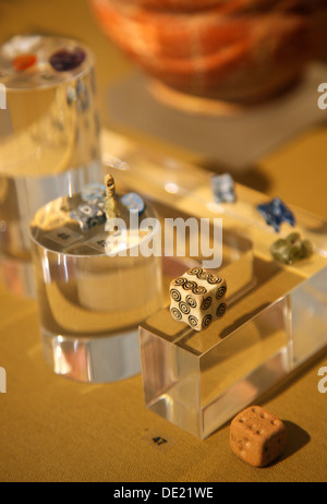 Ancient dice at the archaeological museum of Pythagorion, Samos island, Aegean Sea, Greece. - Stock Photo