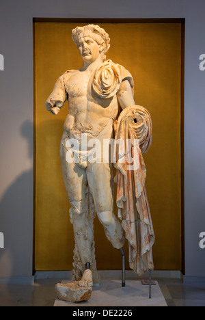 Statue of Roman emperor Trajan at the archaeological museum of Pythagorion, Samos island, Aegean Sea, Greece. - Stock Photo