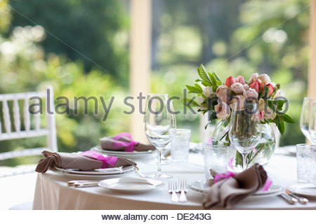Close up of centerpiece at wedding reception - Stock Photo