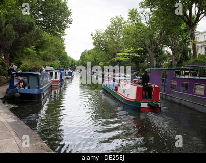 Regents Canal between Little Venice and Camden Lock London - Stock Photo