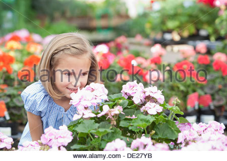 Girl smelling flowers at nursery - Stock Photo