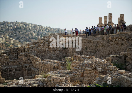 Hercules Temple on Citadel Hill in Amman, the capital of the Hashemite Kingdom of Jordan, Middle East, Asia - Stock Photo